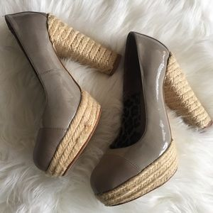 SZ 5 Mauve Espadrille Style Block Heels